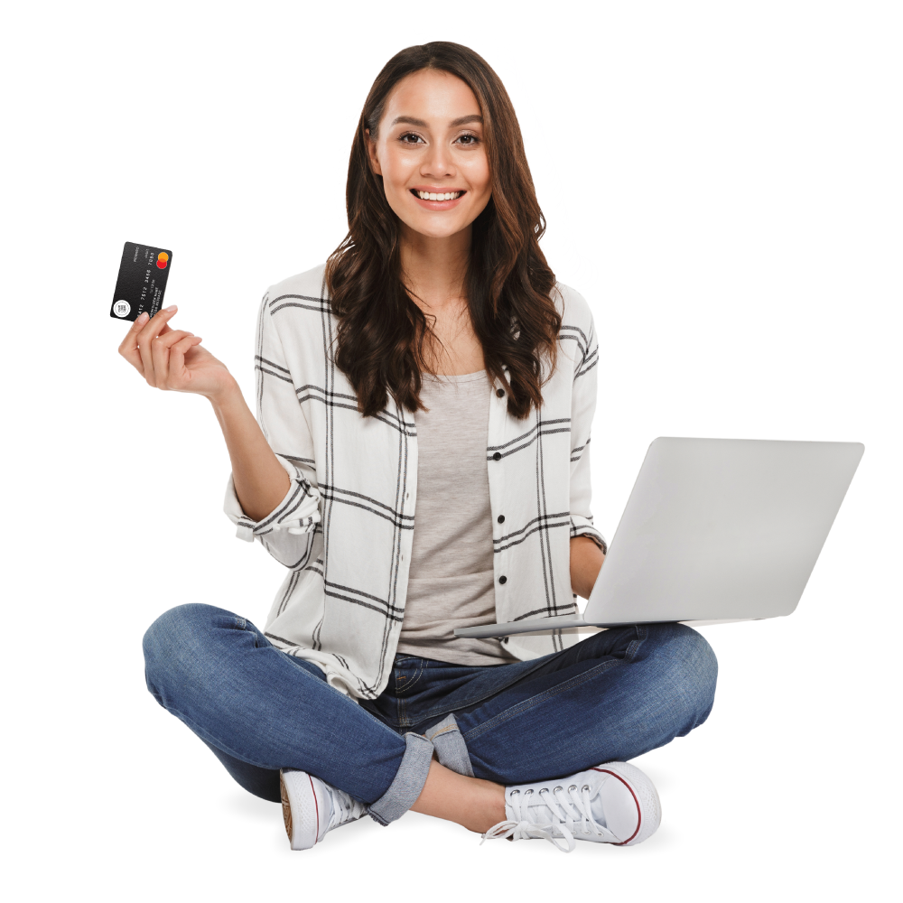 Smiling woman holding prepaid card