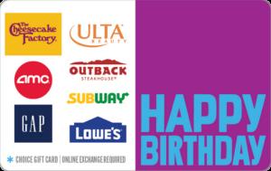 Happy birthday choice gift card