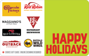 Happy holiday dining choice gift card