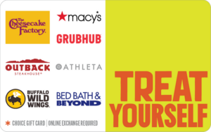 Treat yourself choice gift cards